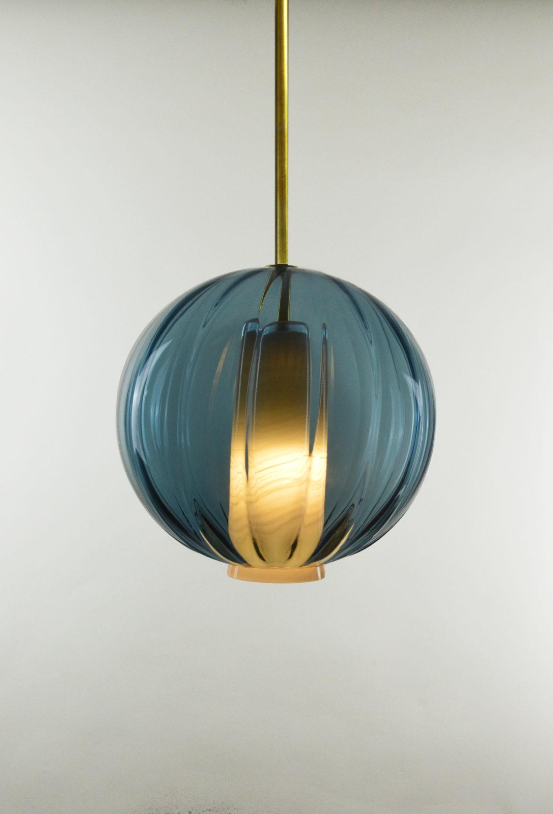 Atelier George-Collection Moire-Globe bleu-océan allumé – Atelier George